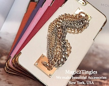 Unique Brazalete Stylish Personalized Chain Hook Ring Wristlet Wrist Lanyard Gold Silver Jewelry Chrome Cover Charm Case For iPhone 6 PLUS