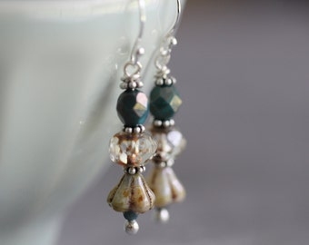Boho Czech Glass Earrings, Teal Blue, Turquoise, Sterling Silver, Dangle Earrings, Glass Earrings, Cottage Chic, Boho Chic, Vintage Style