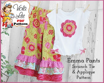 Emma,  Girl's Ruffle Pants Pattern, Girls pdf Sewing Pattern. 1, 2 or 3 Ruffles. INSTANT DOWNLOAD, Toddler Sewing Patterns, Pant Patterns