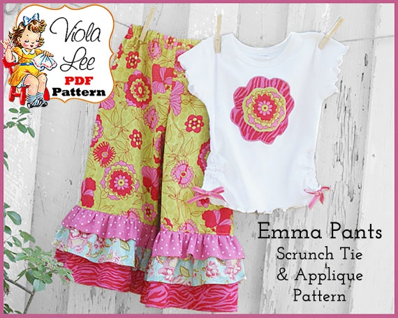 Emma Lee.. Girl's Ruffled Pants Pattern, Capris Pattern, pdf Sewing Pattern. 1, 2 or 3 Ruffles. INSTANT DOWNLOADS