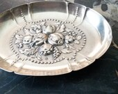 Jean L. Schlingloff Hanau 800 Silver Repousse Fruit and Floral Beaded Tray