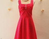 SALE Size Small - Red Sundress Valentine Dress Vintage Summer Dress Red Polka Dot Dress Swing Skater Dresd Retro Rockabilly Style Dress,