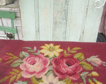 shabby  Needlepoint stool antique roses chippy pink legs   victorian prairie shabby chic cottage chic