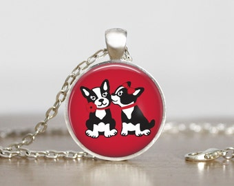 Boston Terrier Love Pendant Necklace Keychain or Ornament