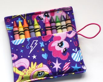 Crayon Rolls made from My Little Pony fabric, holds up to 10 Crayons, Birthday Party Favors