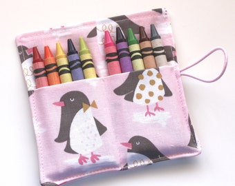 Crayon Rolls, Pink Penguins Crayon Rolls, holds 10 Crayons, Crayon Roll Party Favors