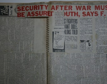 Vintage Scrapbook - Military - WWII - Newspaper