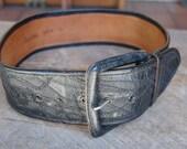 vintage CARLOS FALCHI leather collage black wide belt size S M