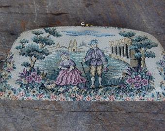 Vintage 1960's wallet coin purse BARONET garden scene TAPESTRY