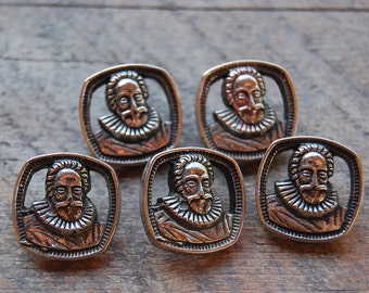 Vintage BUTTONS lot of 5 pieces Shakespearean fellow
