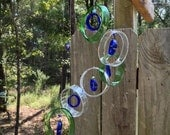 RECYCLING WINE bottles into windchimes, eco friendly and green, garden decor, mobiles, wind chimes, glass windchimes
