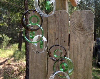 clear, brown, green, GLASS WINDCHIMES- RECYCLED bottles, wind chime, garden decor, wind chimes, musical, home decor, mobile