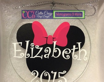 NEW Minnie Mouse Flat Glass Personalized Christmas Ornament