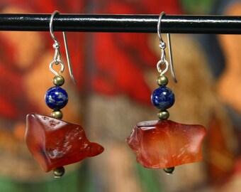 Carnelian & Lapis Earrings, Tribal Earrings, Dangle Earrings, Sterling Silver, Drop Earrings, Hippie, Boho, Ethnic Earrings, Ethnic Jewelry