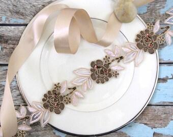 Brown Flower with Nude Beige Leaves Beaded Flower Lace Sash, Brown Bridal Sash, Bridesmaid Sash, Flower Girl Sash, SH-77