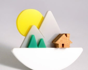 Perspex Mountain Brooch with Sunset