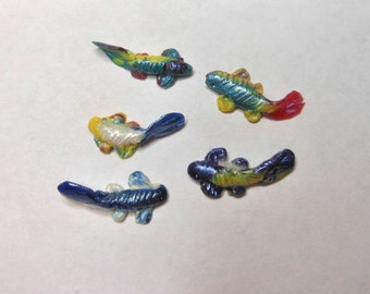 "Fish-Small Polymer clay fish-Set of 5-OOAK- Mini 3/16"" ht-Fairy Pond/river-Fairy Water Feature"
