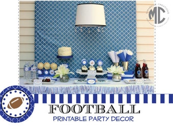 PRINTABLE PARTY COLLECTION -- Preppy Football Party  -- Mirabelle Creations