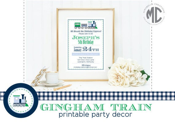 PRINTABLE PARY COLLECTION - Gingham Train Collection -- Mirabelle Creations