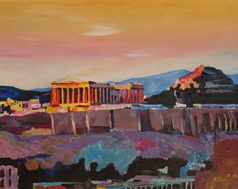Athens Greece Acropolis At Sunset - Limited Edition Fine Art Print - Original available