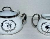 Sale Hutschenreuther china sugar and creamer white and platinum china