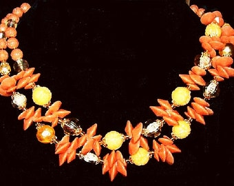 """Flower Bead Necklace Signed Germany 2 Strands Orange Yellow Beads 19"""" Vintage 1960s"""