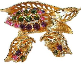 Rhinestone Brooch Earring Demi Set Green Pink Purple Gold Leaves High End Vintage