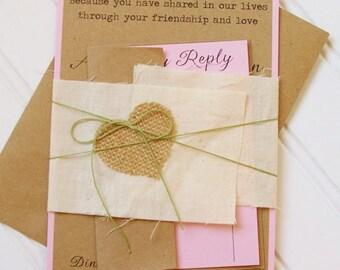 Rustic Wedding Invitations with Burlap Heart: Unique, Handmade. Kraft Paper. Rustic Wedding. Shabby Chic Wedding. Country Wedding.
