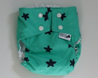 Green with Blue Stars PUL Lined Water Resistant Diaper Cover Available in Small