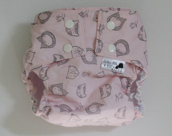 Lions and Tigers and Bears in Pink Water Resistant PUL Lined Diaper Cover Available in Small, Medium, and Large