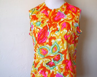 Vintage Psychedelic Print Sleeveless Blouse