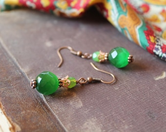 Green Beaded Earrings Green Dangle Earrings Glass Earrings Green Copper Jewelry