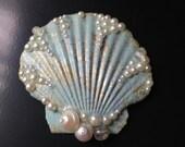 Gold Mint Splash Seashell Hair Clip