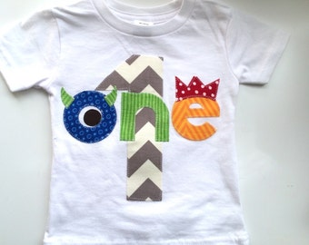 Monster One First Birthday Shirt Chevron Boys Shirt One or Onesie white blue gift photo prop modern