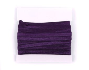 5/8th inch Fold Over Elastic, FOE, Satin Elastic for Headbands - 5 or 10 yards - Eggplant