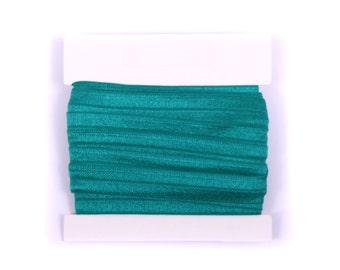 5/8th inch Fold Over Elastic, FOE, Satin Elastic for Headbands - 5 or 10 yards - Hunter Green