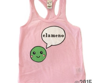 SALE Elameno Pea Tank // Baby Toddler Child Screen Printed Tshirt // Baby PINK // Green // ABCs // LMNO // Kavio Tank