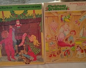 Lot of two large vintage Christmas puzzles and ornament pieces