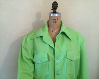 Apparel Men's 70's Shirt-Jacket, Reproduction of 70's leisure suit style jacket.