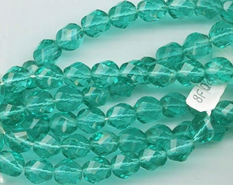 One 16-inch strand (about 50 beads) 8 mm emerald firepolished beads - 174