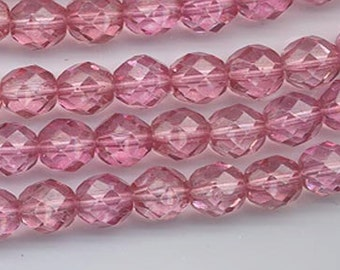 One 16-inch strand (about 50 beads) 8 mm magenta/salmon firepolished beads - 177