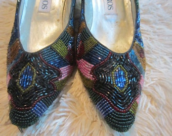 Beautiful Vintage Colored Beaded Pumps