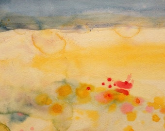 Summer - Expressionist Watercolor Painting on Stretched Watercolor Paper - Medium Size 16 x 20 inches
