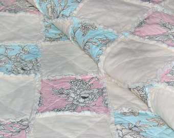 FULL / QUEEN Pink Turquoise & Cream Rag Quilt Handmade Recycled Fabrics