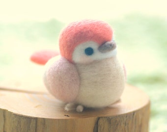 Needle felted bird doll, handmade bird figurine, Blushing bird collection - salmon and pink color, home decor ornament, gift under 30