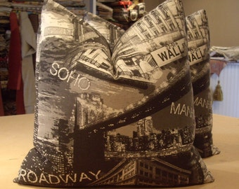 "Newspaper Print ""NEW YORK SKYLINE"" Cotton Print Custom Pillows Pair - Jet Black Cotton Back - 20"" Square - Depicts Famous New York Landmarks"