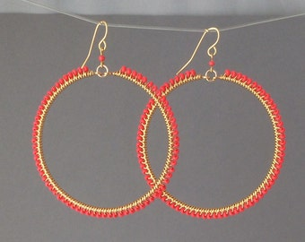 Large Gold Coral Beaded Wrapped Hoop Earrings