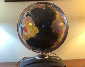 Scarce 1949 Replogle 12 Inch Starlight Globe Glass Light Up Globe Black Oceans Atlas Base Vintage Black Ocean Globe Rare