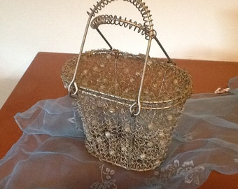 Vintage Wire Purse Silver Coiled Design