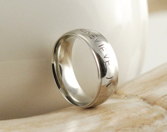 Mens Personalized Ring, Hand Stamped Ring, Stainless steel ring